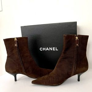 Authentic Chanel brown corduroy booties